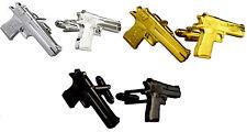 Gun Cufflinks Silver Rose Gold Black White Wedding Favour Cuffs