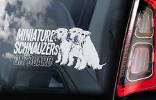Miniature Schnauzers on Board - Car Window Sticker- Schnauzer Dog Sign Decal V03