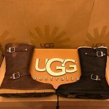 New Womens UGG Kensington Sheepskin Motorcycle Buckle Boot Winter Brown or Black