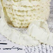 Fruncido Festoneado Adorno Bordes - Crema 3 - Tela De Algodón