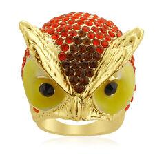 CHUNKY OWL FACE RING BLACK ORANGE BROWN AUSTRIAN CRYSTAL GOLDTONE SIZE 7 9 NWT