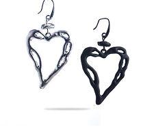 Orecchini pendenti a forma di cuore mod. Sensation nero o argento