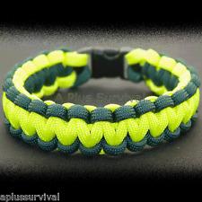 CERT Green & Neon Yellow Paracord Rope Survival Bracelet 9 Feet 7 Strand 550 LB