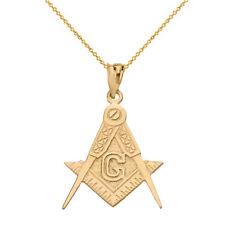 14k Yellow Gold Masonic Freemason Compass and Square Letter G Pendant Necklace