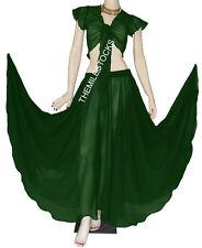 TMS DARK GREEN Full Circle Skirt + Ruffle Top BellyDance Costume Gypsy JUPE HAUT