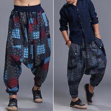 Uomo Boho Harem casual largo cotone+LINO larga GIAPPONESE SAMURAI pantaloni