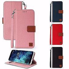 For LG V30,V30+Flip Folio Wallet Pouch ID Card Kickstand Case DENIM Canvas Style