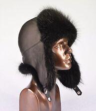 Premium Quality Black Canadian Beaver Fur Leather Aviator Trapper Ushanka Hat