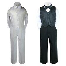 4pc Boy Black White Formal Vest Set Suits Christening Paisley Baby Teen sz S-20