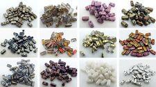 6 (mm) deux TROU TCHÈQUE VERRE carré rectangulaire Spacer Beads - (40PCS)