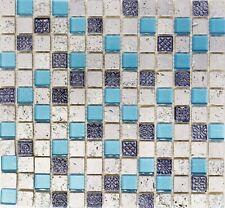 Mosaiksteine Mosaikfliese Glasmosaik/Stein/Resin blau Rustikal - Art: 82-0402_f