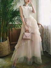 Élégant refinada vestido vestido largo beige corpiño claro evento noche 3856