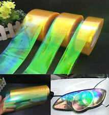 Yellow Car Glossy Chameleon Mirror Headlight Tail Vinyl Wrap Tape Sticker - AB
