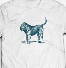 Mens Womens Vintage Beagle dog Illustration S-XXXL White Cotton T-shirt Tshirts
