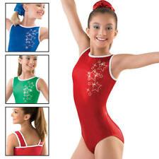 New Kelly Green or Blue Foil Metallic Star Sparkle Gymnastics Leotard Adult Sz