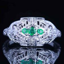Antique Jewellery Three Stones Treated Emerald/Ruby Milgrain 10K White Gold Ring