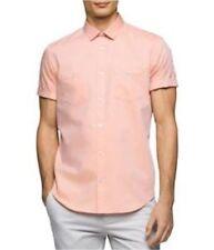 NEW Calvin Klein Men's Micro Grid Button Down Shirt Cotton Celosia Orange $69