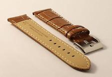 Uhrenarmband-Krokodil-Braun-Kontrastnaht-22mm-Croco-Grain-Tan-Contrast-Stitching