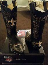 New Orleans Saints Ladies Black Leather Boots size 5.5-11 Fancy Stitched Cowboy
