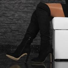 SEXY OVERKNEE-STIEFEL AUS SAMT SCHWARZ #E21073