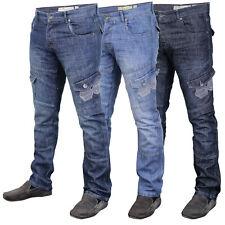 Mens Denim Jeans Crosshatch New Cargo Combat Bottoms Trousers Straight Leg Pants