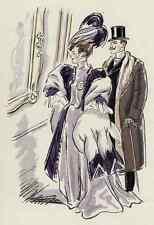Elegante dama en muelle y Pelz-colorierte litografía de Georges Pavis