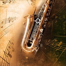 Sticker mural autocollant déco : Saxophone réf 4532 (25 dimensions)