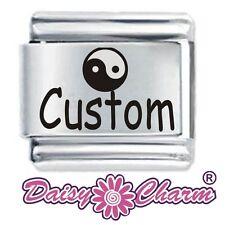 Personalised YIN YING name Custom 9mm for Classic size Italian Charm Bracelet