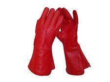Men's Medieval Renaissance Gauntlet Red Gloves Long Arm Cuff