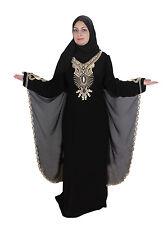 Dubai Abaya in stile islamico fisso abito con velo in nero-aby00345
