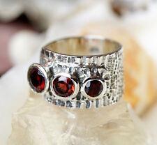 Silberring 53 58 Granat Rot Silber Ring Modern Breit Massiv Elegant Hammerschlag