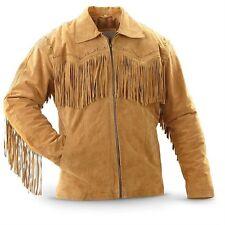 3S Men's Leather Western wear Brown Suede Leather Jacket Fringe