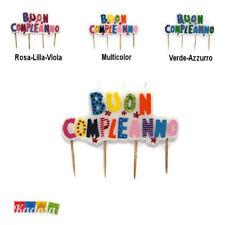 Candeline BUON COMPLEANNO Candela fantasia Multicolor Auguri Torta Festa party