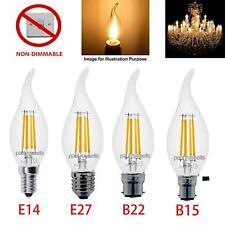 LED E14 B15 B22 E27 Flame Tip Bent Candle CLEAR Lamp White Edison 2W 4W Bulbs