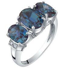 14K White Gold Created Alexandrite and Diamond Three Stone Triune Ring 2.75 cts
