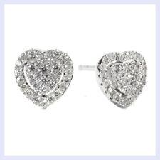 Rhodium on Sterling Silver Love Sweet Heart Clear CZ Crystal Stud Earring Post