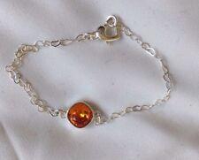 Swarovski Elements Orange Square Crystal Bracelets with Heart Chains & Clasps