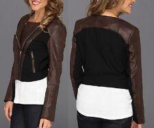 Karen Kane Brown Faux Leather Panel Byzantine Motorcycle Jacket - MSRP $238