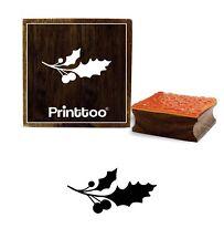 noël baies de houx avec motif de feuille carrée timbre en caoutchouc bois