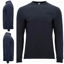 Nueva camiseta manga larga de hombre con bolsillo. 100% Algodón. Shiba. Azul