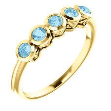 Genuine Aquamarine Five-Stone Bezel Set Ring In 14K Yellow Gold