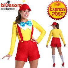 K646 Women Tweedle Dee Dum Alice in Wonderland Book Week Costume + Propeller Hat