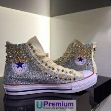 Converse All Star Champagne Glitter Or Chaussures Cloutés Fait À La Main Clous