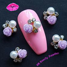 3D Nail Art Decoration LILAC ROSE Diamante Rhinestone Crystal Gems Nail Charms