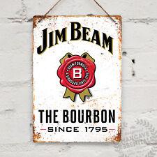 JIM BEAM BOURBON Replica Vintage Metal Wall sign Retro Pub Bar Mancave Whiskey