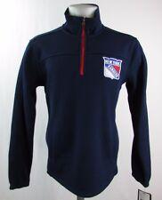 New York Rangers Men's Quarter-Zip Pullover Bonded Jacket NHL Navy Blue A12MLM