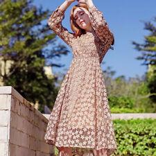 Élégant vestido vestido largo suave beige flores columpio manga larga 4016