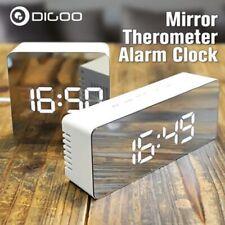 Snooze Backlight LED Night Light Digital Thermometer Mirror Alarm Clock USB