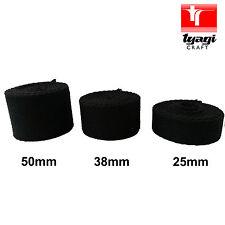 38MM BLACK COTTON WEBBING Canvas 3mm Thick Bag Making Shoulder Strap