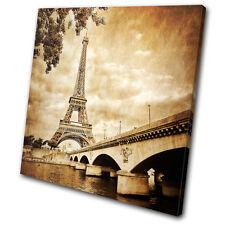 Architecture Eiffel Tower  Paris  SINGLE CANVAS WALL ART Picture Print VA